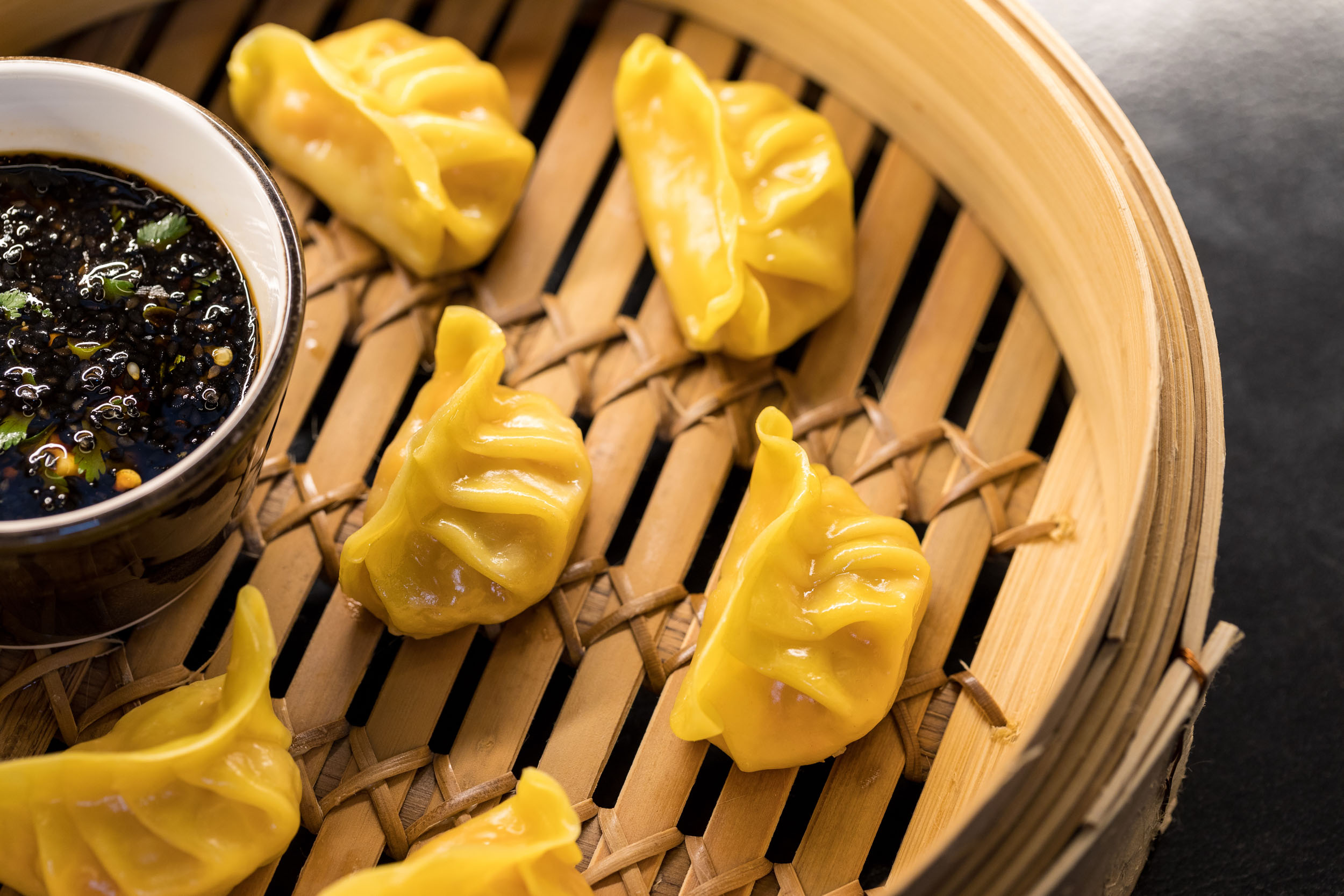 Food photography of dumplings