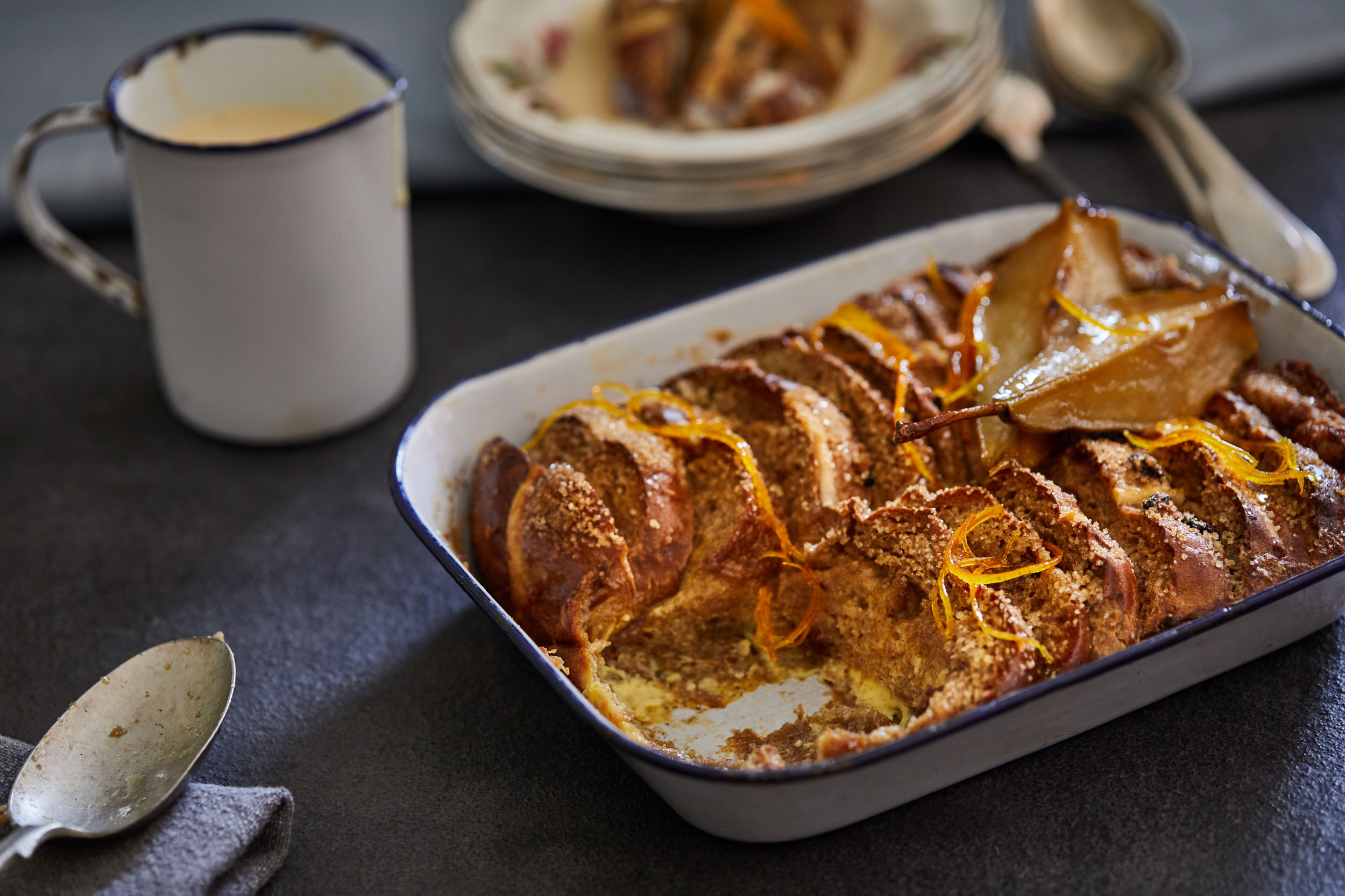 Food photography of Bread and Butter Pudding