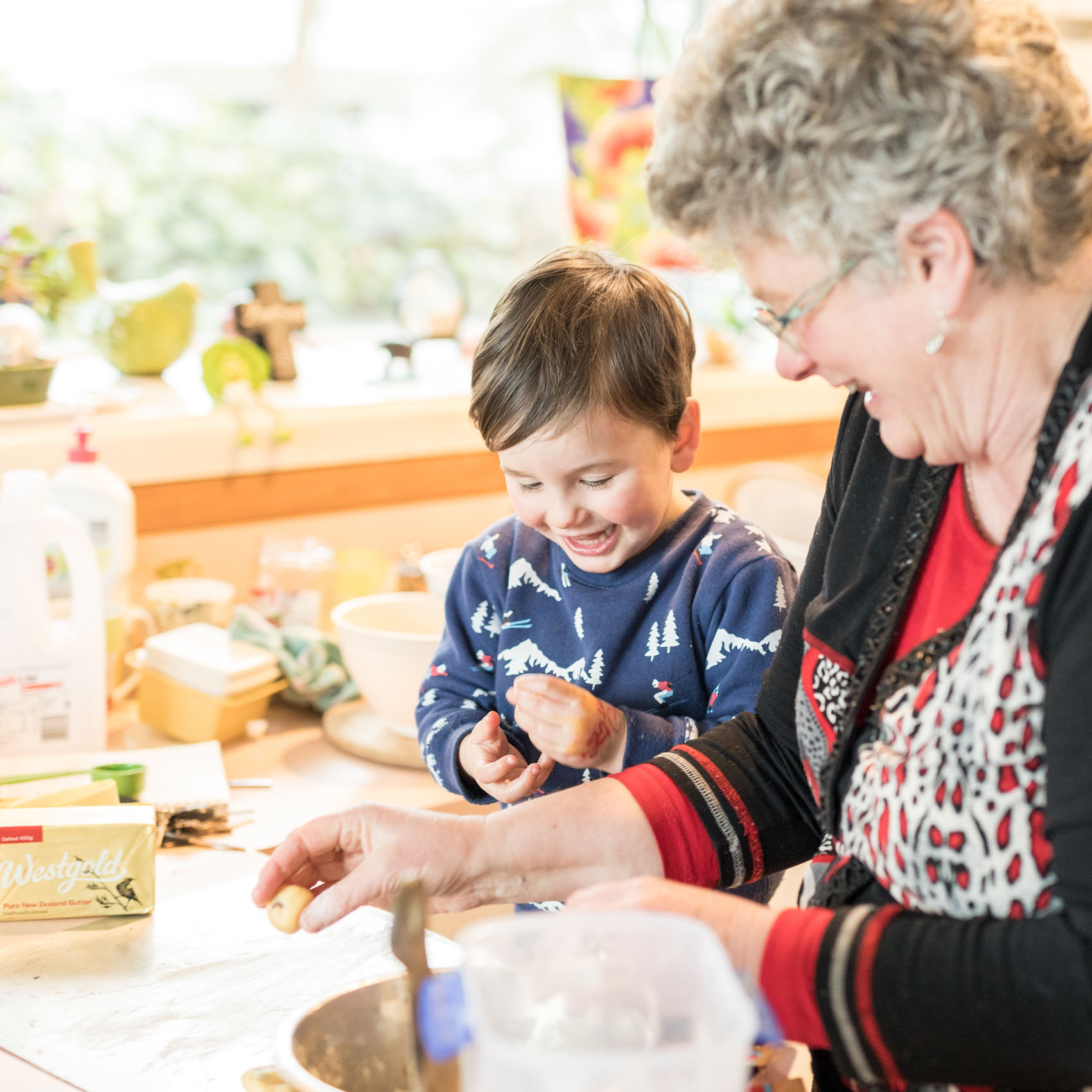 Advertising imagery of Josiah Baking with Grandma